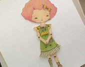 Paper Doll Print, Articulated Paper Doll, PDF Paper Doll - Raspberry - Gingermelon