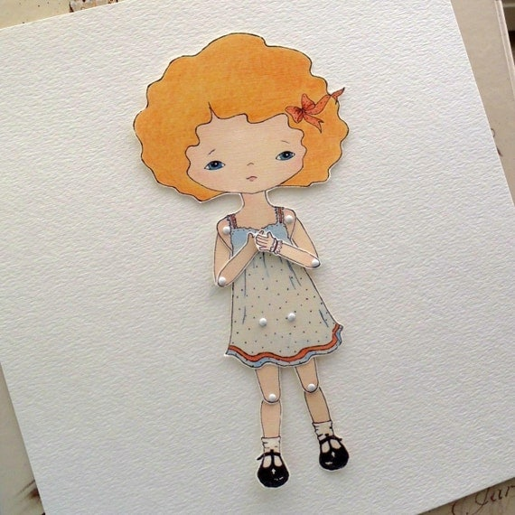 Paper Doll Print, Articulated Paper Doll, PDF Paper Doll - Tangerine