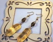 facted smoky quartz, pyrite and gold plated feather 'plume' earrings