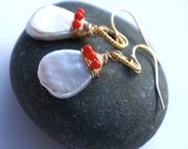 fresh water pearl, bright red-orange coral and gold 'coastal' earrings