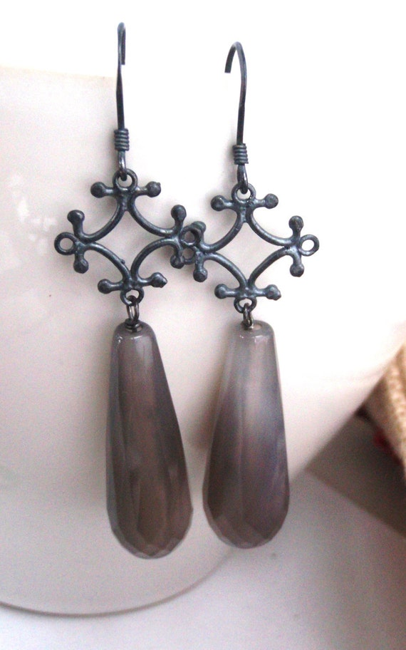 gray agate and antiqued sterling silver 'haze' drop earrings