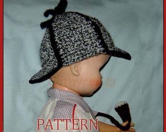 Sherlock Holmes hat, 4 Sizes- INSTANT DOWNLOAD Crochet Pattern