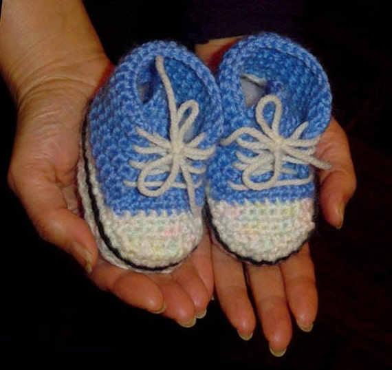 Crochet High Top Booties Free Pattern : Pattern for Crochet High Top Baby Bootie Sneaker