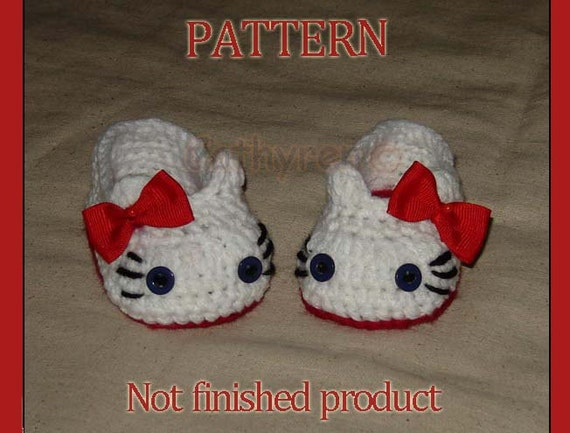 PDF PATTERN 40 - Crochet Baby Girl Hello Kitty Slippers, house shoes, booties. Sizes for Preemie, Baby and Toddler