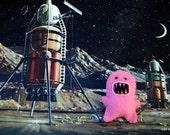 Pink Felt Monster Brooch