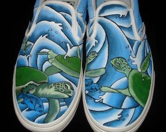 Hand Painted Vans - Turtles