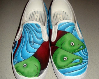 Hand Painted Toms - Salmon