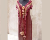 Cinnamon Apple freeform hand croheted and hand knitted scarf  or fairy mini capelet with tufted garnishee