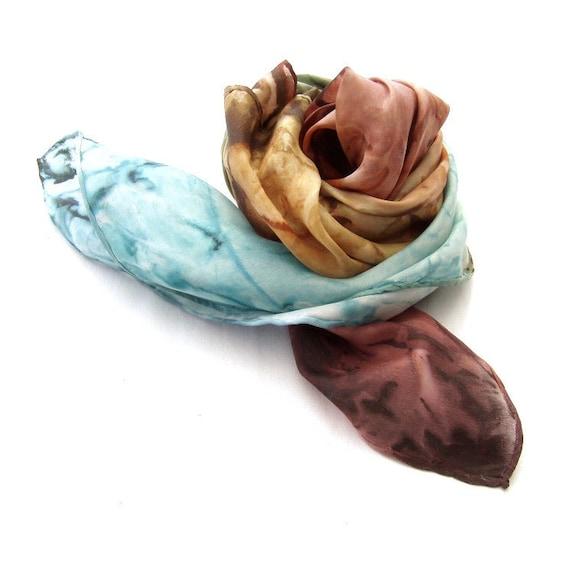 Autumn Coast - Fashion hand painted silk shawl Bronze and Blue green tones