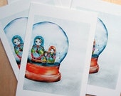 Matryoshka in a snowglobe note cards - set of 10 - lovely for wintry holiday cards