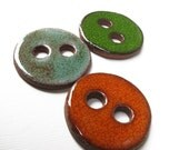 Green Turquoise And Orange Ceramic Buttons