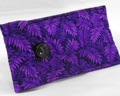 Quilted Eyeglass Case Sunglass Case - Purple Leaf Print