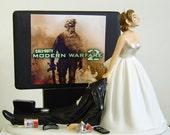 VIDEO GAME 'junkie' GROOM.  Bride With Strapless Dress.  Perfect Customized Wedding Cake Topper
