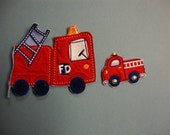 reclaimed appliques, little red firetrucks, craft project appliques
