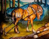 Logging horse, giclee print