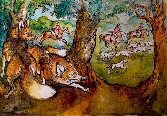 The wise foxes- horse and hound-fine art original