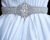 Bridal Wedding Dress Beaded Crystal Embellished Belt Sash