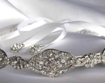 Bridal Headband, Bridal Ribbon Headband, Wedding Hair Accessory, Rhinestone Ribbon Headband
