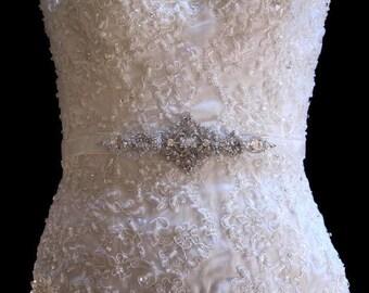 Zara Beaded Jeweled Crystal Belt Sash Brooch Organza Ribbon