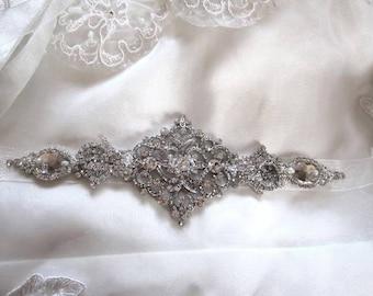 Beaded Jeweled Crystal Belt Sash Brooch Organza Ribbon