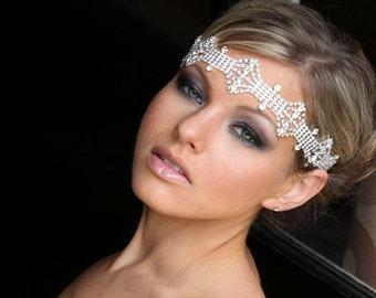 Iva Bridal Tiara Hair Headband Ribbon Headpiece Jeweled Halo Bohemian