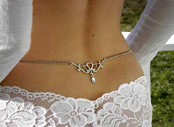 Back body jewelry chain tribal tattoo alternative design with clear crystal