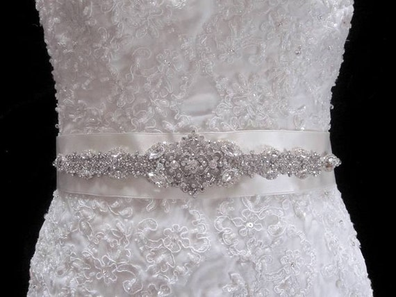 Bridal Dress Gown Beaded Jeweled Crystal Belt Sash