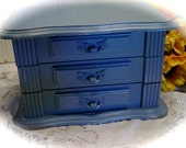 Upcycled Slate Jewelry Box - Chippy - Blue Hues Of Shabby Chic
