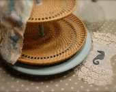 Upcyced Lazy Susan with Tiered Wicker Tray - Duck Egg Blue Chalk Paint - Serving or Storage