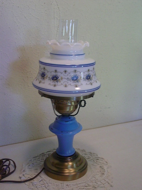 Vintage Hurricane Lamp Electric Upcycled By Edencovetreasures