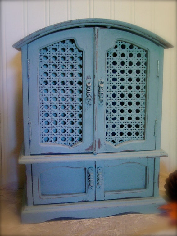 Vintage Jewelry Box - Cane Doors - Tiffany Blue Lining - Gorgeous French Country Duck Egg Blue Chalk Paint