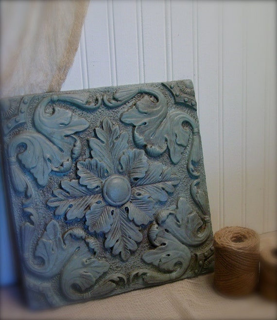 Duck egg blue wall art baroque plaque french inspired for Egg tray wall hanging