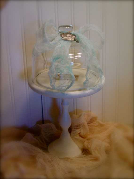 French Inspired Cloche - Wood Base with French Label - Glass Cloche with Ribbons