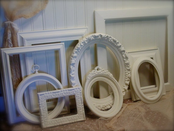 RESERVED - Frame Collection - Upcycled Antique White -Annie Sloan Chalk Paint - Vintage and Ornate Frames