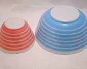 Vintage Pyrex Ovenware Mixing Bowls Pink and Blue Striped