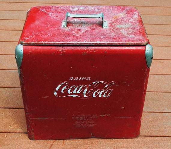 Vintage Red Coca Cola Cooler 1950s