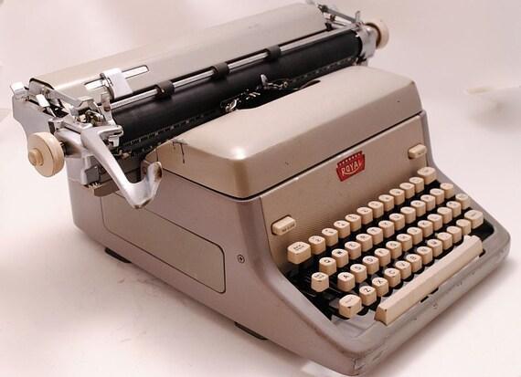 Vintage Typewriter Royal Working Desktop 1950s Gray Manual