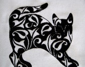 4 Damask Cats Embroidery Quilt Blocks