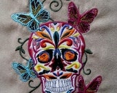 Butterfly Urban Skull Embroidered Fabric Block