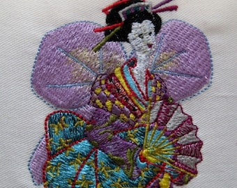 Angel Geisha Girl Embroidered Quilt Block