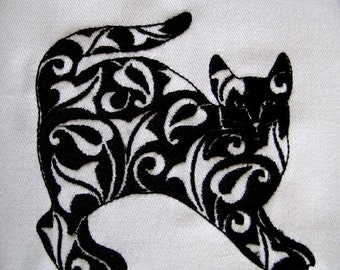 6 Damask Cats Embroidery Quilt Blocks