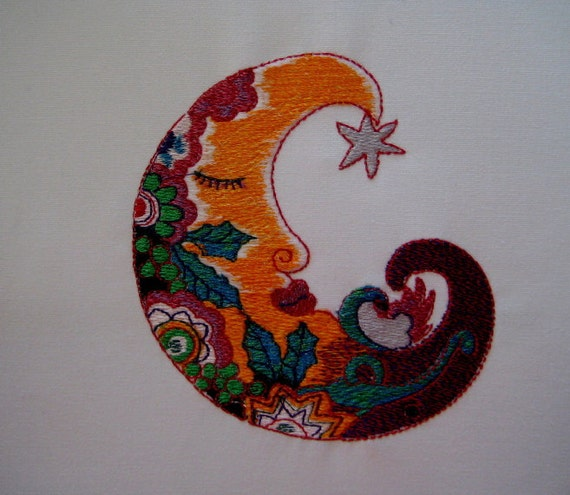 Moon Embroidered Quilt Block