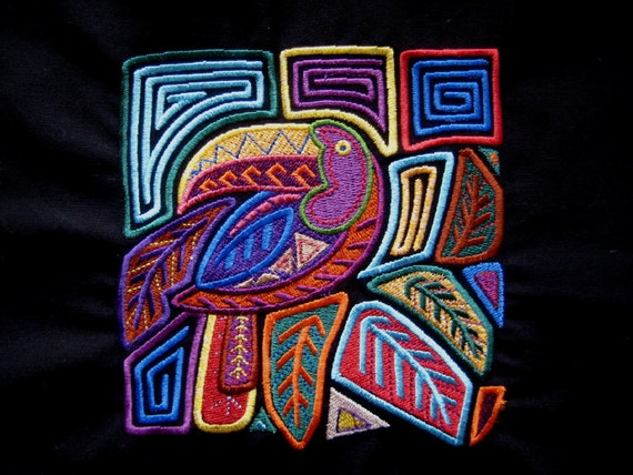Mola Toucan Embroidered Quilt Fabric  Block