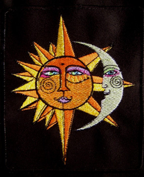 Patch Sun  Moon Embroidered Patch 6""
