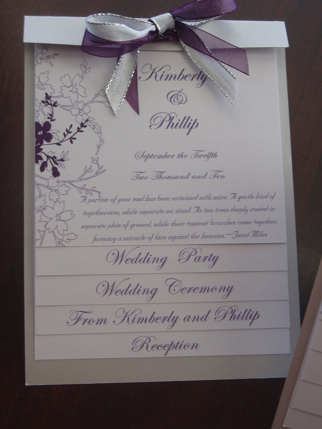 Layered Wedding Program Sample By Platinuminvitations On Etsy