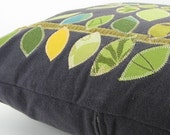 Appliqued Pillow with Green Leaf Pattern