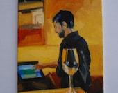 Wine waiter, Paris, original oil painting.
