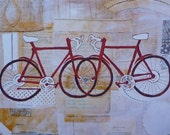 Mixed Media Art Print Bikes Anniversary Gift Wedding Gift Newlywed Gift Under 25 Our First Christmas Married Christmas