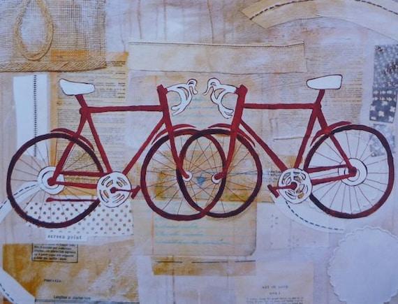 SALE - Mixed Media Art Print Bikes Anniversary Gift Wedding Gift Newlywed Gift Under 25