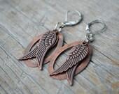 angel wing earrings / / / angel wing earrings antique copper angel wing charm